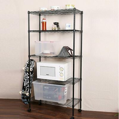 5 Tier Shelf Adjustable Wire Metal Shelving Rack Wrolling Home Storage Cart