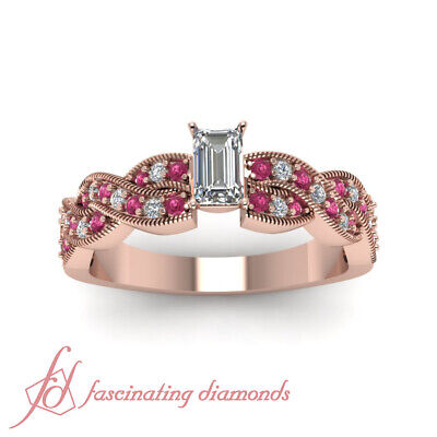 1.25 Carat Pave Set Sapphire And Diamond Rings With Emerald Cut GIA Certified 1