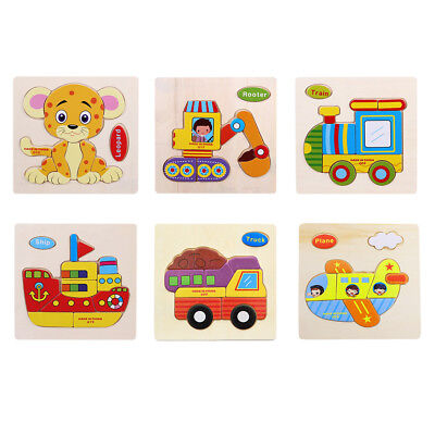 Wood 3D Puzzle Jigsaw Toy For Child Kids Cartoon Animal Puzzles Best Xmas (Best Wood For Kids Toys)