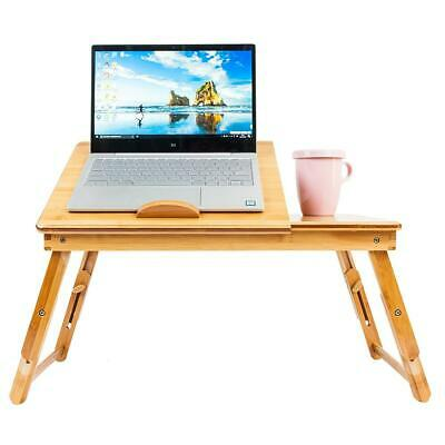 Bamboo Laptop Desk Adjustable Breakfast Serving Bed Tray with Tilting Top Drawer 3