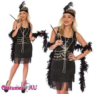 Ladies 1920s Roaring 20s Flapper Costume Sequin Ganster Deluxe Black Fancy Dress (Black Ganster)
