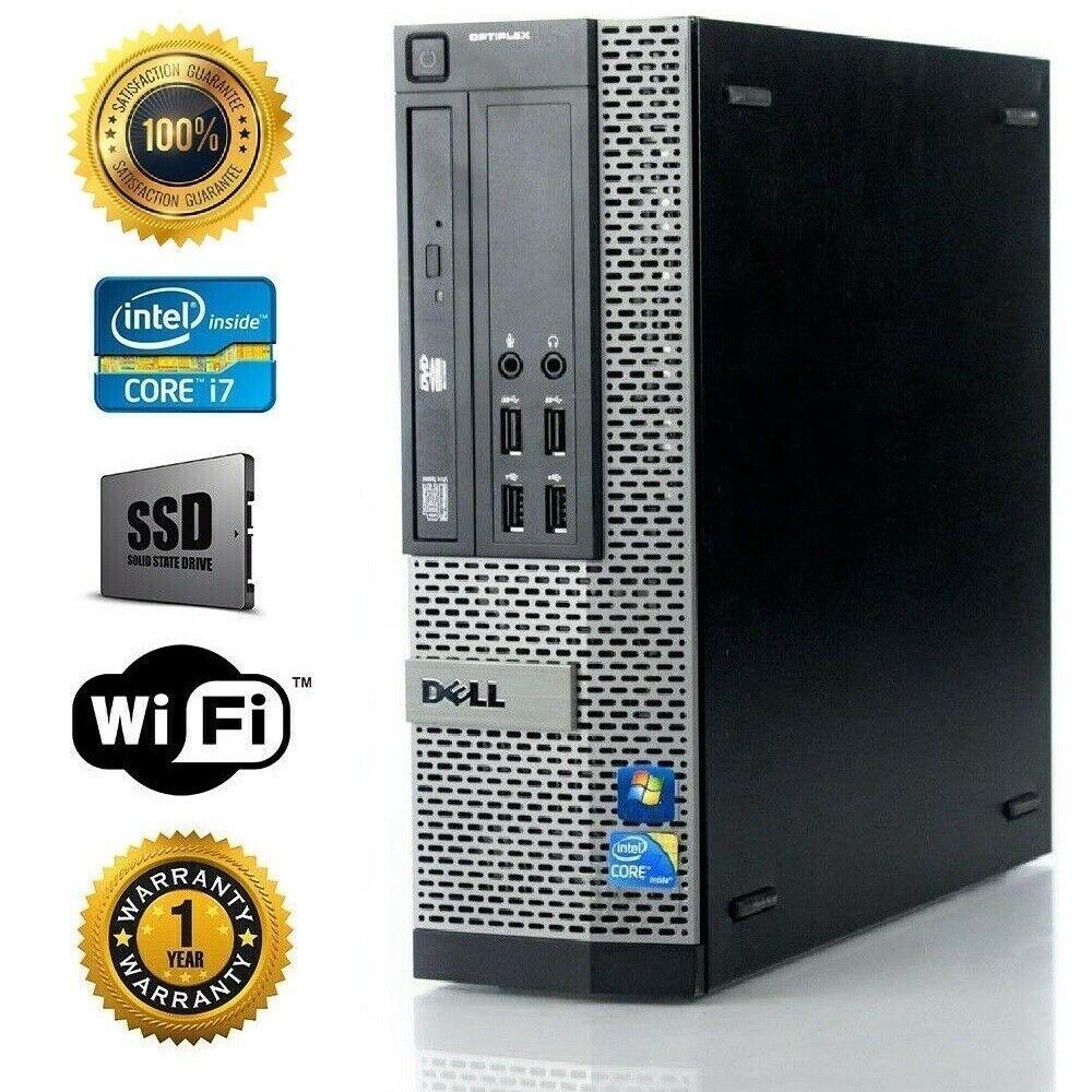 Dell Desktop Computer I7 3770 3.4ghz Quad Core SSD + 500GB H