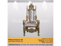 NEW Lion King Queen Wedding Throne Chair - Gold & White (150cm)