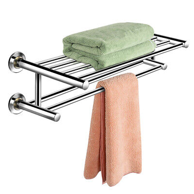 Hotel Bathroom Shelves (Wall Mounted Towel Rack Rail Holder Storage Shelf Bathroom Hotel Stainless)