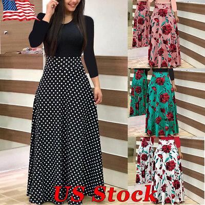 Gypsy Maxi - US Women Boho Polka Dot Floral Jersey Gypsy Long Maxi Full Skirt Beach Sun Dress