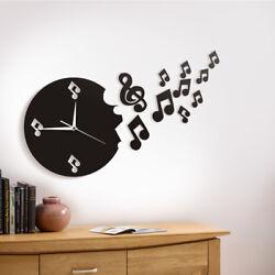 Musical Note Wall Clock Modern Design Music Studio Rock n Roll Gift Home Decor