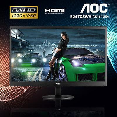 "24"" AOC E2470SW LED Gaming Monitor 1ms Speaker HDMI VGA DVI 1920X1080 Full HD"
