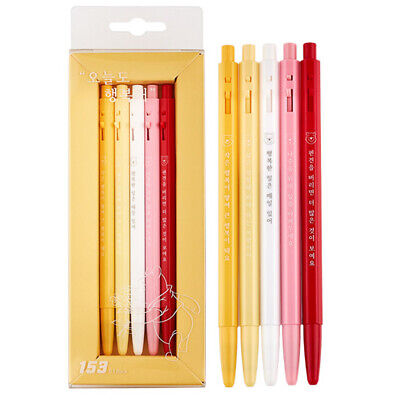Monami 153 Happiness is Every Day BallPoint Pen 5PCS Korean Office School Supply
