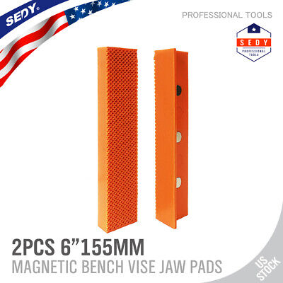 2pc 6 Universal Bench Vise Soft Jaw Cover Magnetic Retention Orange Waffle Face