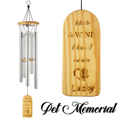 Engraved Wind Chimes - Personalized Engraved Bamboo Remembrance Wind Chimes Pet Memorial Wind Chime k