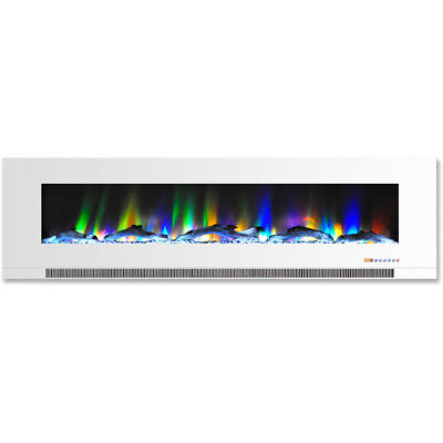 60 In. Wall-Mount Electric Fireplace in White with Multi-Col