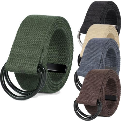Men Women Canvas Web Belt Casual Military Jeans Belt Black Double D-ring Buckle