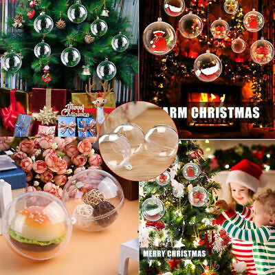40-100mm Clear Plastic Christmas Ball Fillable Baubles Sphere Xmas Tree -