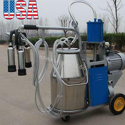 Usaelectric Milking Machine Milker Best For Farm Cows Bucket Stainless Steel