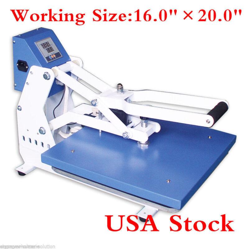 "US 16""x20"" Clamshell T-shirt Auto Open Heat Press Machine Horizontal Version CE"