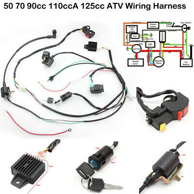 CDI Wire Harness Wiring Loom Coil Rectifier Kit For 50-125cc ATV Electric Quad F