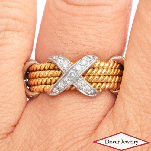 Tiffany & Co.Schlumberger Diamond Platinum 18K Gold X Band Ring 10.4 Grams NR