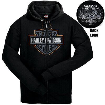 Harley Davidson Mens TT Shield HD Zip Hoodie Black Swansea Wales
