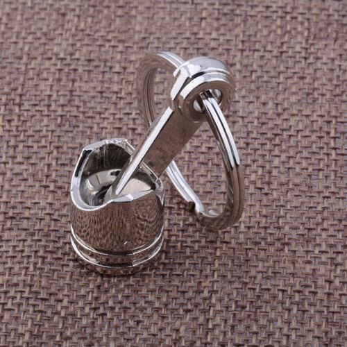 Car Parts Racing Mini Engine Piston Chrome Silver Keychain Keyring Fob Key Ring