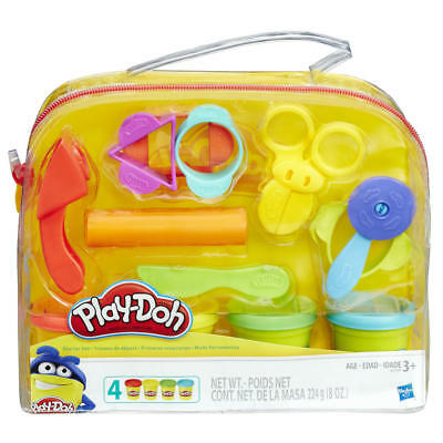 Starter Set Play Doh Reusable Tote 4 Colors 9 Classic Tools Cut Stamp Roll Shape