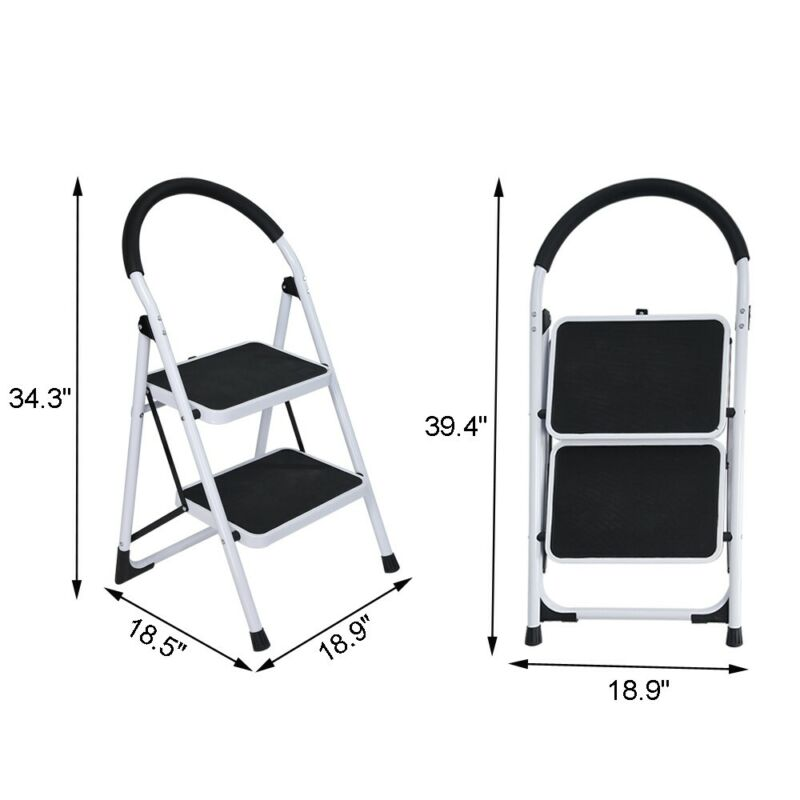 2 Step Folding Ladder Step Stool Steel Ladder With Handle An