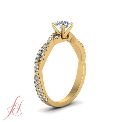 Yellow Gold Round Cut Diamond Intertwined Engagement Rings Pave Set GIA 1.15 Ct 2