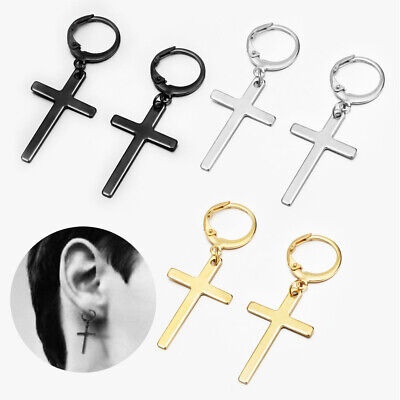 2 PCS Men Stainless Steel Slim Cross Drop Dangle Huggie Hinged Hoop Earrings