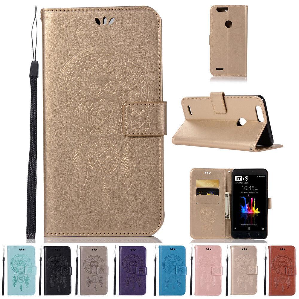 san francisco baabd cd5fb Details about Leather Flip Card Wallet Case Cover Wristlet Kickstand For  ZTE Blade Z MAX Z982