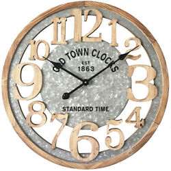 24 Large Numbers Wall Clock Wood Wall Clock Laser Cut Vintage Farmhouse Clock