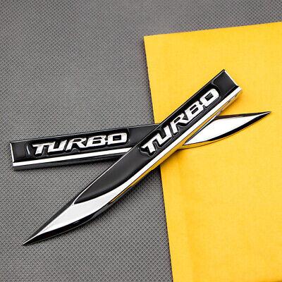 Pair Black Metal Turbo Side Wing Sticker Emblem Fender V6 V8 Engine Badge Decal