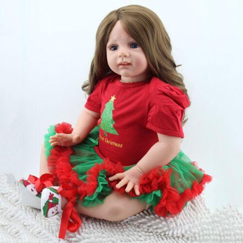 """Reborn Newborn Dolls 24""""Handmade Toddler Soft Vinyl Silicone Baby Doll Kids Gift"""