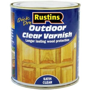 Rustins Quick Drying Outdoor/Exterior Varnish Wood Protection Satin Clear 500ml