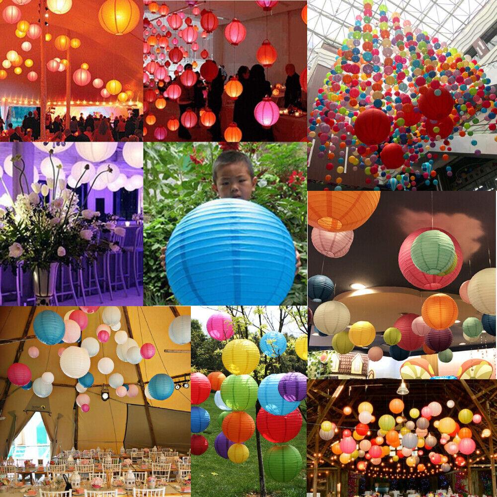 """6"""" 8"""" 10"""" 12"""" Round Chinese Paper Lantern DIY Hanging Ball L"""
