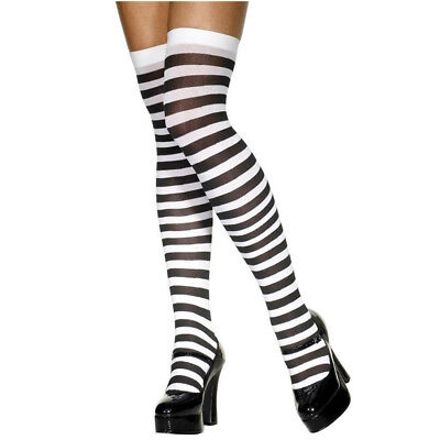 BLACK AND WHITE STRIPED STRIPE HOLD UP STOCKINGS HALLOWEEN FANCY DRESS - Halloween Costumes Black And White Stripes