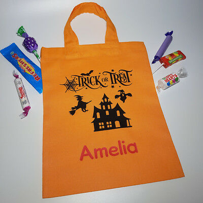 Personalized Halloween Goodie Bags ( Halloween Trick or Treat Personalised Party Bag Haunted House Design Goody Bag)