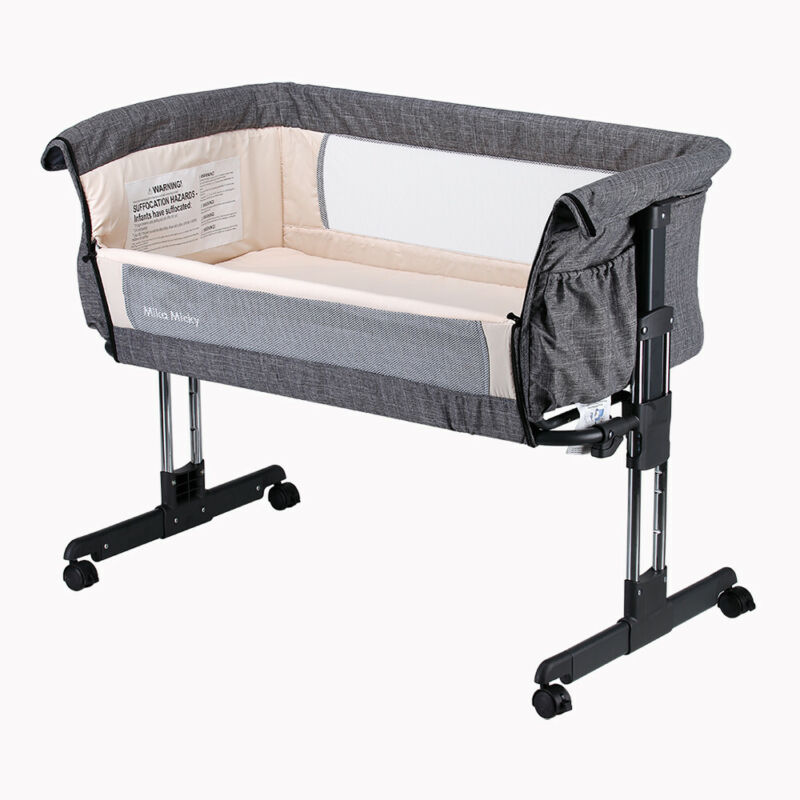 Mika Micky Bedside Sleeper Easy Folding Portable Crib, Bassinet.