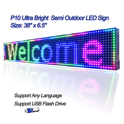 38x 6.5 Rgb Full Color P10 Led Sign Programmable Scrolling Message Display