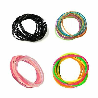 12 Mixed Gummy Rubber Bangles Wristbands Bracelets Various Colours One Size - Rubber Wristbands