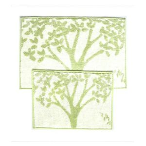 Sage And Beige 2 Piece Bathroom Mat Rug Set Tree Design Non Skid Canvas Backed