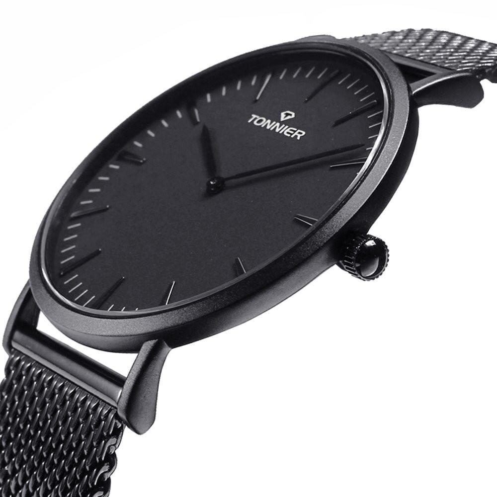 Black Stainless Steel Slim Men Watch Quartz Watch