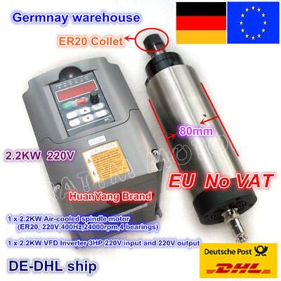 DE/EU 2.2KW ER20 Air Cooled Spindle Motor 80mm+VFD Driver Inverter 220V CNC Kit