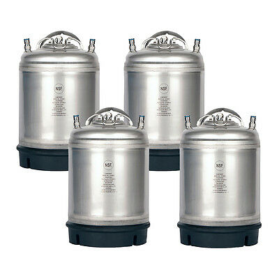 4 Pk New 2.5 Gallon Ball Lock Kegs Homebrew - Beer - Cold Brew - Free Shipping