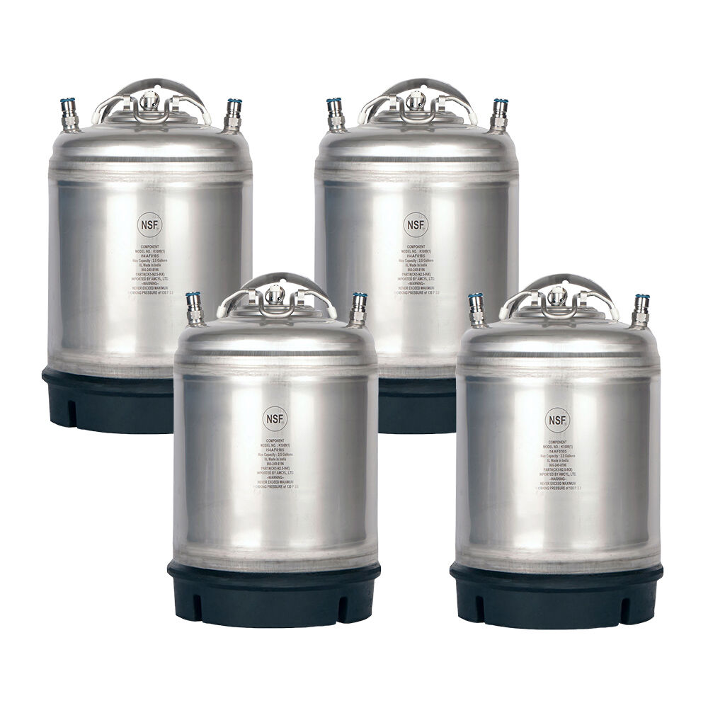 4 Pack New 2.5 Gallon Ball Lock Kegs AMCYL - Homebrew Beer S