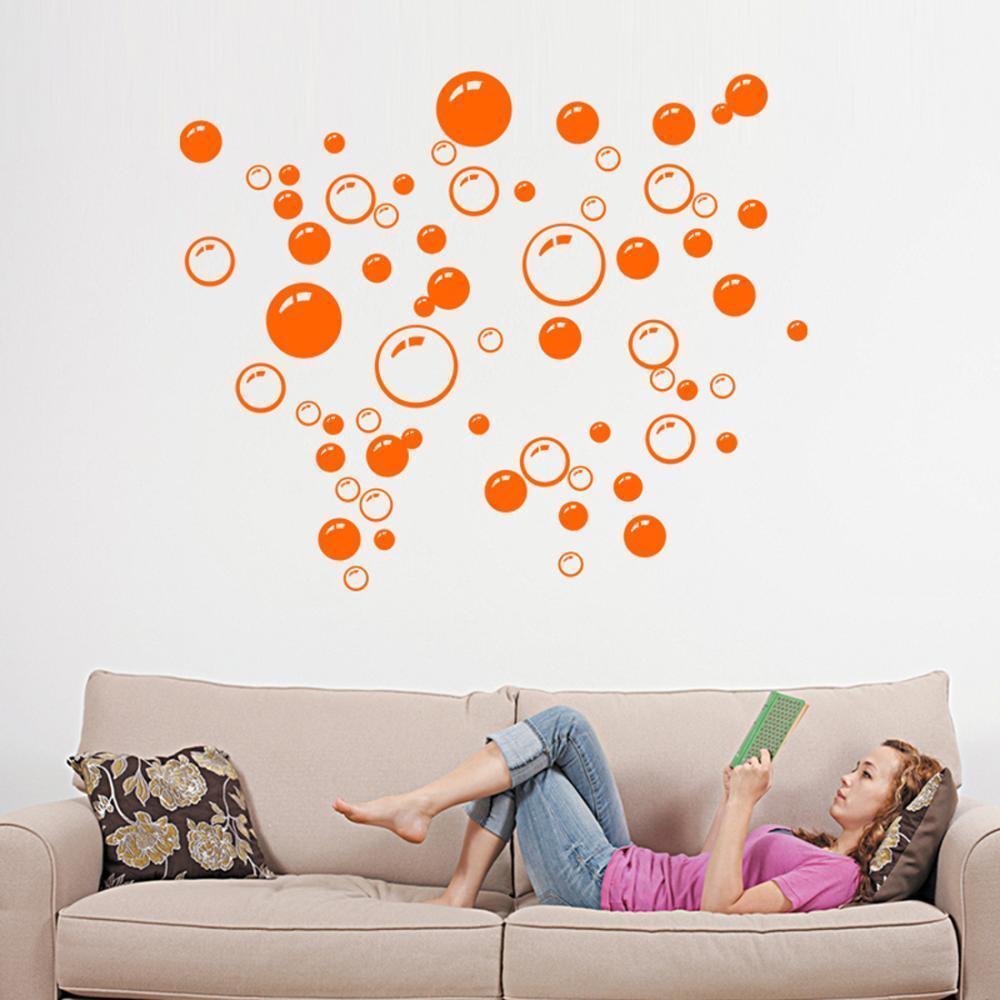 Modern Orange Circle Bubble Pattern Bathroom Products Wall S