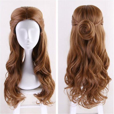 Anime For Beauty and the Beast Belle Wig Long Brown Wavy Party Cosplay Wig Bun
