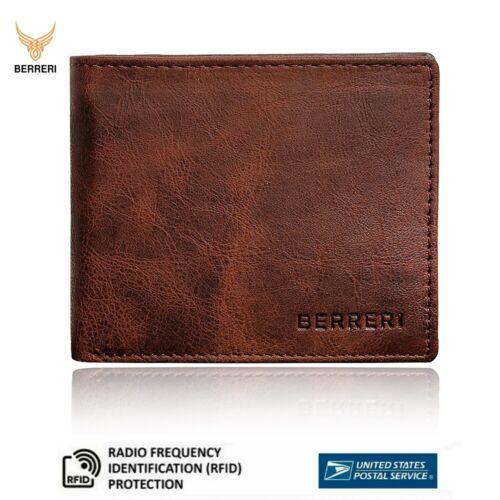 Berreri Mens Genuine Leather Very Slim Wallet Card Purse In Gift Box Us Stock