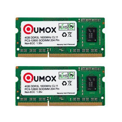 Qumox 8GB(2x 4GB) DDR3 DDR3L 1600MHz PC3-12800 SO-DIMM Laptop-Speicher 1.35v