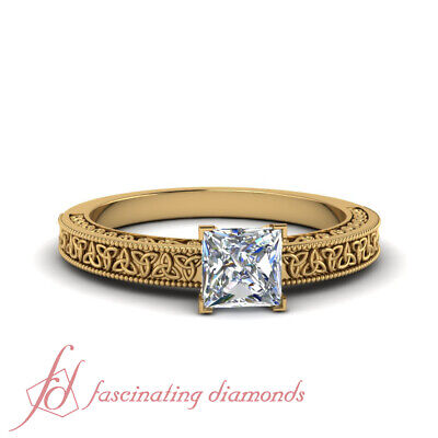 Yellow Gold Solitaire Celtic Engagement Ring With 3/4 Carat Princess Cut Diamond