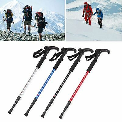 Anti-Shock Trekking Hiking Walking Adjustable Pole Stick Cane Crutch Alpenstock