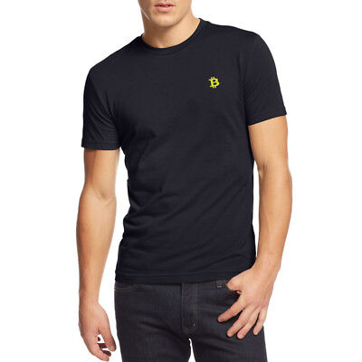 Mens Bitcoin Symbol Embroidered Embroidery Casual T-Shirts Men Tee